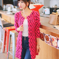 Autumn medium-long brief o-neck mohair sweater cardigan cape outerwear female