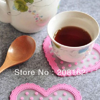 Silicone Love Shape Polka Dot Anti-Heat SkidProof Cup Coaster Potholder Dishes Bowls Mat