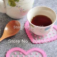 Silicone Love Shape Polka Dot Anti-Heat SkidProof Cup Coaster Potholder Dishes Bowls Mat (mini order 10 usd)