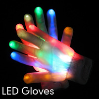 Free Shipping 2pcs(1pair)7 Modes Color Changing LED Glove LED Finger Light Gloves for Party Supplies