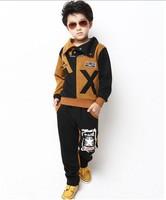 2013 Kids fashion spring & autumn sports clothing set(coat+pants) boy high quality 2pcs suit children wear Free shipping