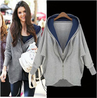 Autumn Style Cotton Double Zipper Loose Hoodies Sweatershirt Grey White Color Women Hoodies with Hat