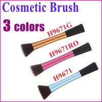 Free Shipping Professional Powder Blush Brush Cosmetic Stipple Foundation Brush Makeup Tool Flat Top 3 color Wholesale
