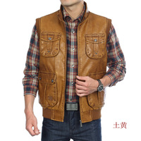 Fashion Stand collar slim vest 2014 spring and autumn  men's clothing leather vest FREE SHIPPING