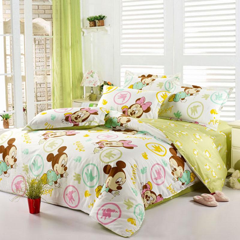 Textile 40s-80s cotton stripe 100% slanting four piece set cartoon bedding 100% piece cotton bedding set(China (Mainland))