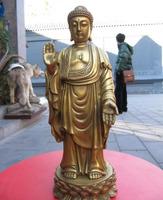 "10""china Buddhism temple brass Maitreya Sakyamuni Tathagata god statue z"