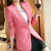 New Style Pink Black Cotton Blended Women Blazers Suits OL Slim Lady Blazers
