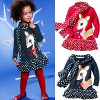 Free shipment sika deer girl's dot patchwork scarf long-sleeve dress clothing set wholesales 349