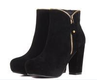 2013 new   arrivel   mens  Liner gauze boots winter velvet autumn thick heel round toe zipper brown black street