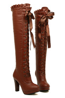 2013 over-the-knee high-heeled platform boots winter autumn thick heel lacing up   riding  boots  round toe