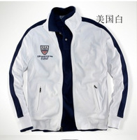 free shipping 2013 Men's cotton jacket new flag paragraph Polo collar cardigan sweater men hoodie