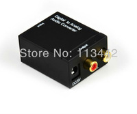 Free shipping 2pcs  high quality Digital to Analog Audio Converter Digital S/PDIF to RCA output adapter box