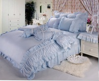 Rustic princess bedding 100% cotton four piece set 100% bedding cotton bed skirt Sky Blue solid color