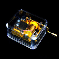 Philco transparent gold plated mini hand-cranked music box music box birthday gift canon gift