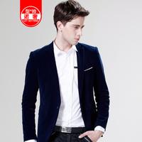 2013 autumn male slim casual suit velvet flat flannelette blazer men's clothing outerwear