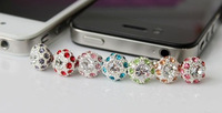 300pcs spherical rhinestone earphone Cap anti dust plug for cell phone accessories and 3.5mm jack mobile phone DHL free shipping