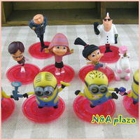Cartoon Despicable Me 3D Eye Minions Figure PVC Action Toy Children toy  Free Shipping (10pcs/set)