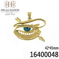 New Fashion Blue Evil Eye Pendant High Quality 18K yellow Gold Rhinestone Wholesale 16400048