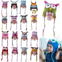 Free Shipping 1pc New Warm Hat Owl Infant Baby Unisex Boys Girls Crochet Knit Knitted Woolly Ear Warm Photo Prop Beanie Caps