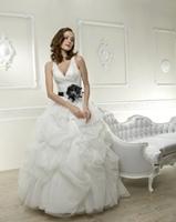 Princess V-neck Sweep Train Floor-Length Tulle  Wedding Dress With Flower HWGJWD95
