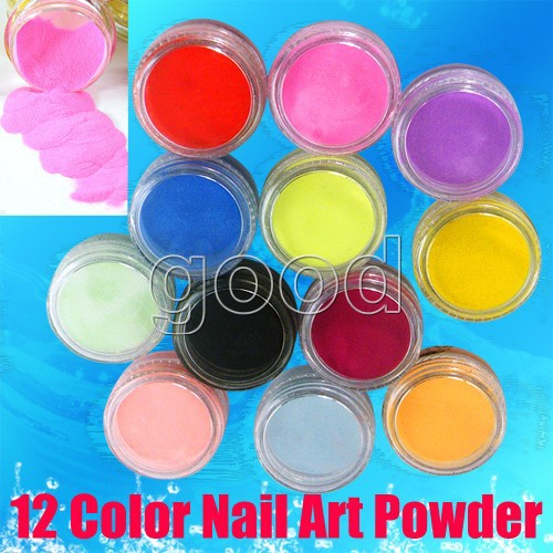 Wholesale 12pcs Colors Acrylic UV Gel Glitter Dust Powder Set for Nail Art Tip Decorations(China (Mainland))