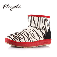 2013 new Phenythi snow boots female boots 2013 winter stripe horsehair genuine leather short waterproof 07