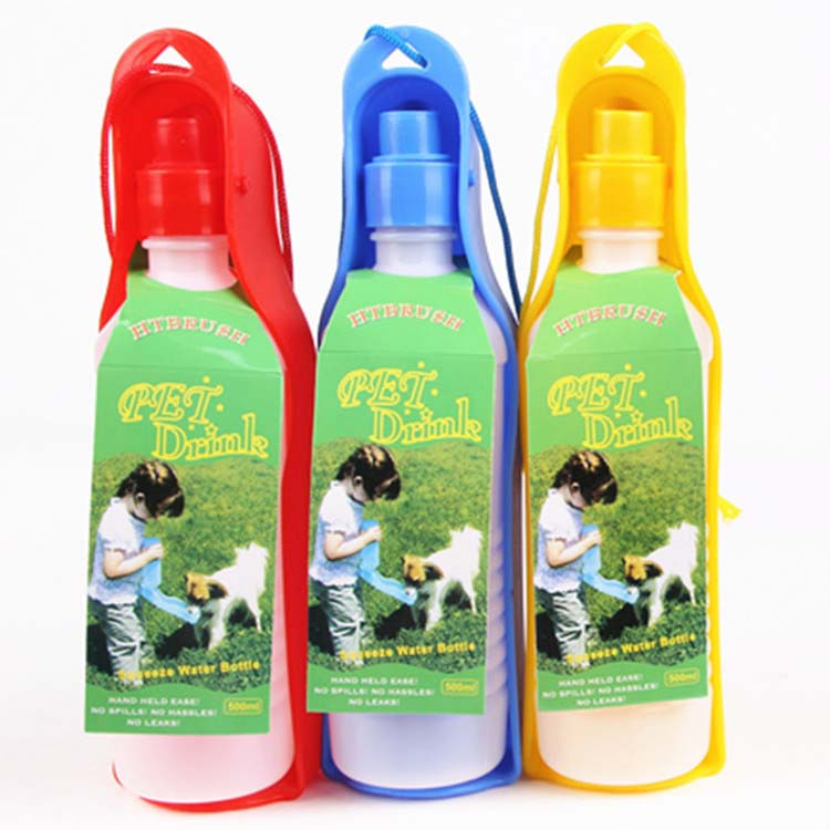 500ML PET DOG CAT OUTDOOR PORTABLE DRINKING BOTTLE BOWL PET TRAVEL DRINKER HG-0093(China (Mainland))