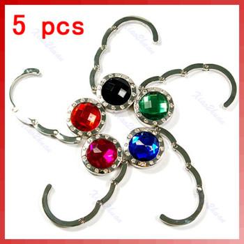 A31 Free Shipping 5 x Fashion Crystal Faux Gemstone Table Handbag Purse Hook Hanger