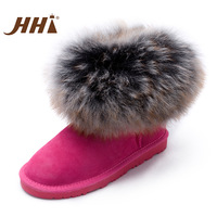 Hhi snow boots female boots ultralarge wool fox fur cowhide women's autumn and winter snow boots