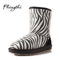 Phenythi snow boots 2013 winter fashion genuine leather color block decoration zebra print parent-child knee-high thermal