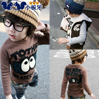2013 autumn children's clothing big eyes male child baby child 100% long-sleeve cotton t-shirt 4804