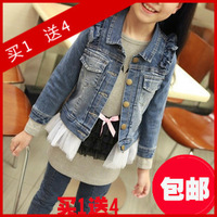 Female child 2013 autumn children's clothing denim outerwear cardigan gauze skirt outerwear child outerwear female