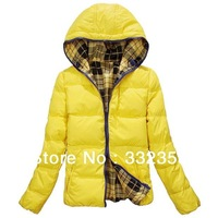 Free Shipping Women warm  down coat,Two wear women coats hooded jacket,yellow/ pink winter overcoat