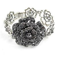 2013 Designer Bracelet Hollow Out Rose Chain Link Rhinestone Flower Charm Bracelets Wholesale