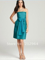 Free shipping 2013 sexy beautiful green blue strapless blet short party prom dress dresses cocktail bridesmaid gown gowns G164