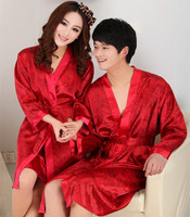 Free shipping Red lovers bathrobe long-sleeve robe men and women sleepwear strap nightgown spring and summer lounge set
