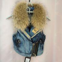 Genuine Fur Vest Women Jeans Vest Female Fur Jacket Denim Vest 2013 Fashion Faux Fur Outerwear Autumn Winter Free Shipping B96