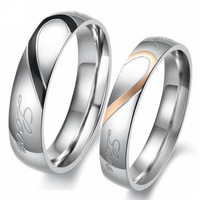 Jewelry Ringss Sets Fashion Couple Half Heart Matching Titanium Steel Couples Ring,Men Women Wedding/Engagement Rings Lots