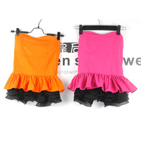 Free Shipping 2013 female slit neckline tube top patchwork pleated top - 3307 women's Sexy Disco Dance vest