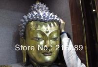 28 Tibet Bronze Red Copper 24K Gold Gilt Sakyamuni Tathagata Head of a buddha z