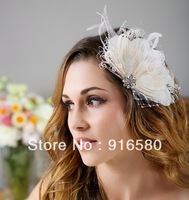 Sep.Newest Design Ivory Peacock fascinator for Bride free shipping