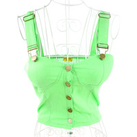 Free Shipping 2013 female sexy tube top type spaghetti strap button water wash denim vest small women's Sexy Disco Dance vest