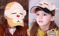 Holiday new spring autumn cartoon little monkey cotton children baseball hat boy girl baby fashion plush peaked cap gift 1 pc