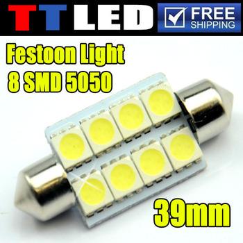 50 X Festoon Dome 8 SMD 5050 led bulb 31mm 36mm 39mm 12V White Blue Car interior License plate led bulb Free shipping #TK08