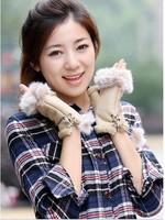 Fast arrived Autumn winter lady's true rabbit hair type glove computer half mittens warm mitten gloves 1 pair