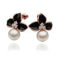 E517/Wholesale Lovely Flower Crystal Charm18K Rose Gold Exquisite Pearl Earrings Jewelry,High Quality for women,Free Shipping