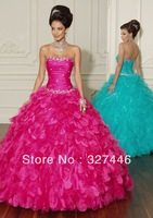 Wholesale New Ball Gown Quinceanera Dresses Long Cheap Fuchsia Crystals Many Layers Fluffy Beads Crystals Sweet 15 16 Dresses