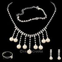 1 Set Rhinestone Heart Necklace Earrings Ring Bracelets Jewelry Set Adjusted Pearl Tassel 62231