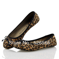 new 2014 Vintage Bow Leopard Print Flat Heel Single Shoes Flat Canvas Shoes Fashion Plus Size Women'S Shoes