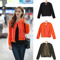 ON SALE ! Autumn Winter Fashion Orange Black Army Green Long Sleeve Round Collar Buttons Jacket For Women Size M- XXL 339711